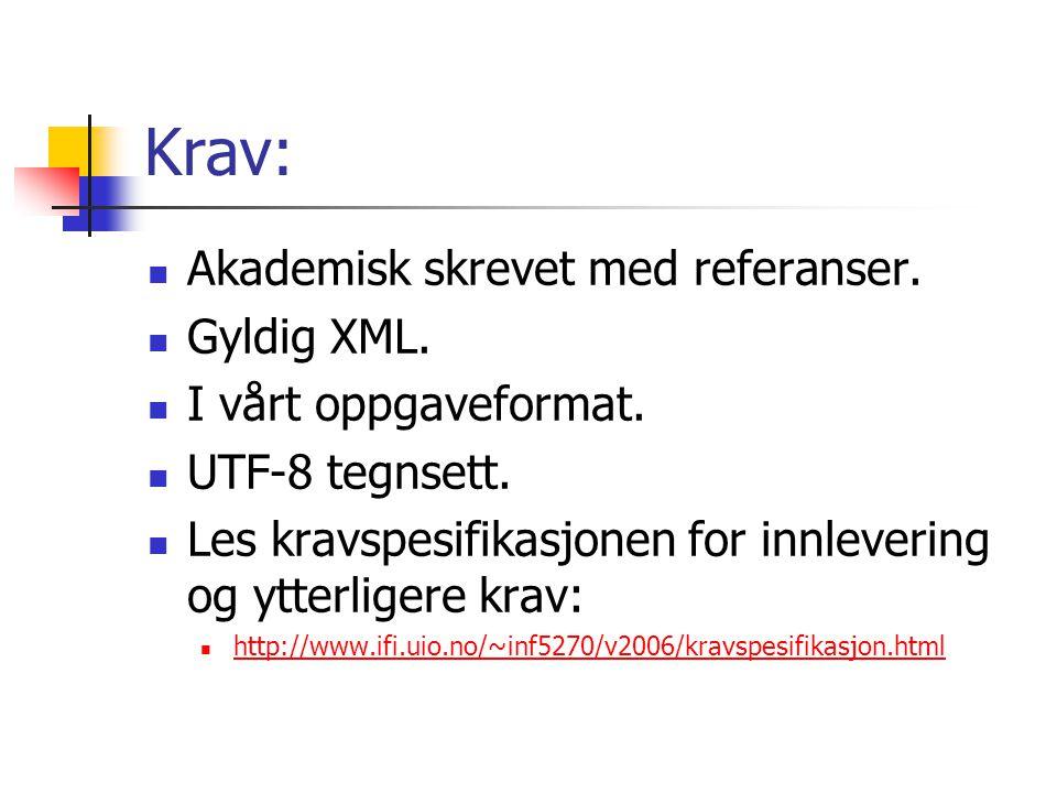 Krav: Akademisk skrevet med referanser. Gyldig XML.