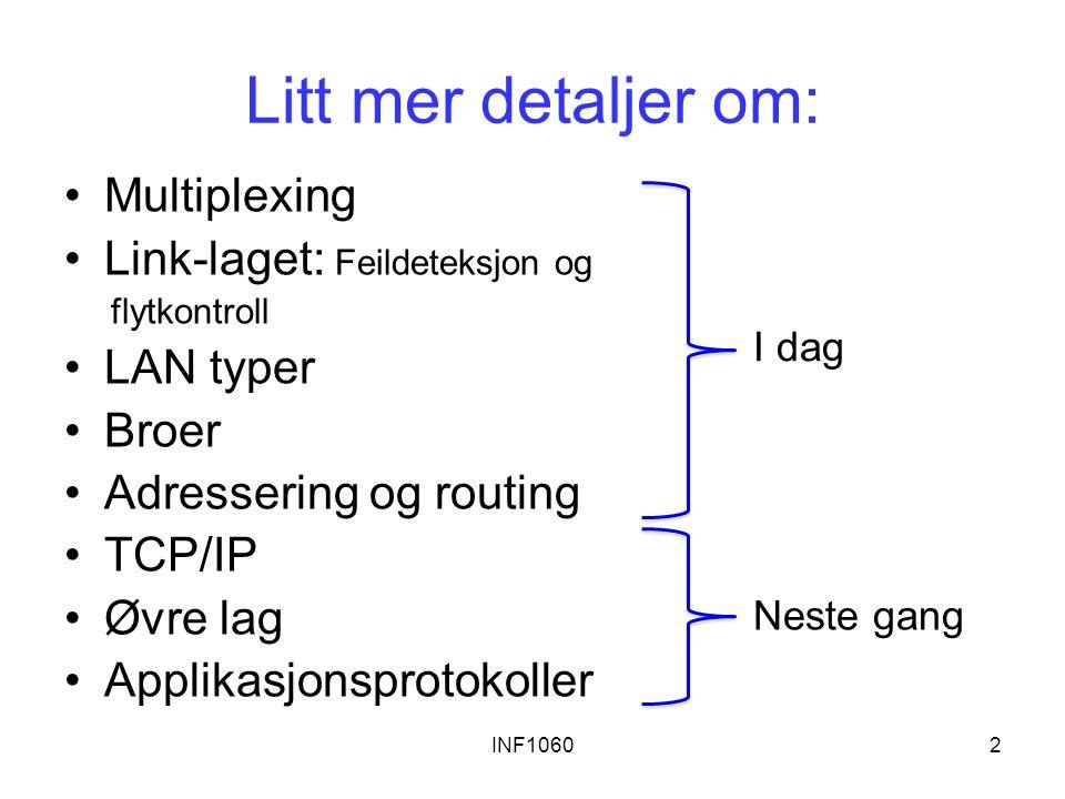 INF10602 Litt mer detaljer om: Multiplexing Link-laget: Feildeteksjon og flytkontroll LAN typer Broer Adressering og routing TCP/IP Øvre lag Applikasj
