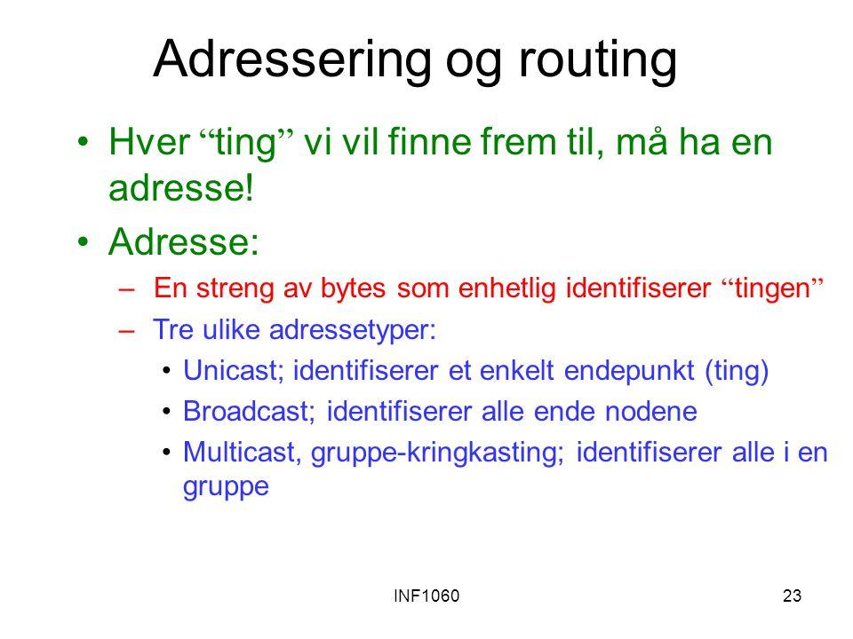 """INF106023 Adressering og routing Hver """" ting """" vi vil finne frem til, må ha en adresse! Adresse: – En streng av bytes som enhetlig identifiserer """" tin"""