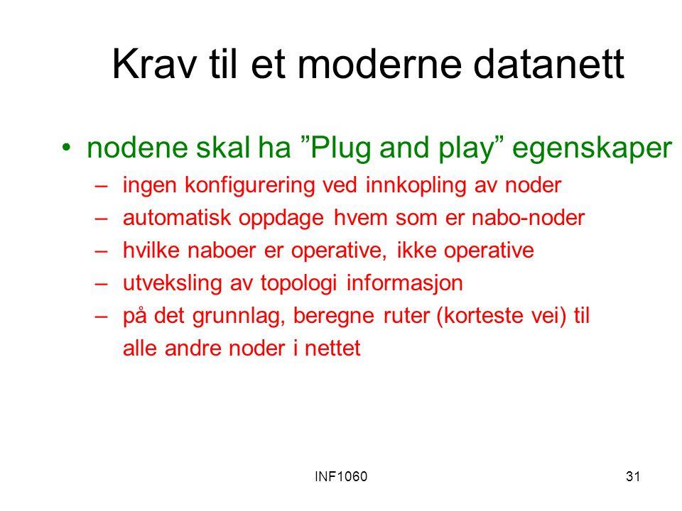 """INF106031 Krav til et moderne datanett nodene skal ha """" Plug and play """" egenskaper – ingen konfigurering ved innkopling av noder – automatisk oppdage"""