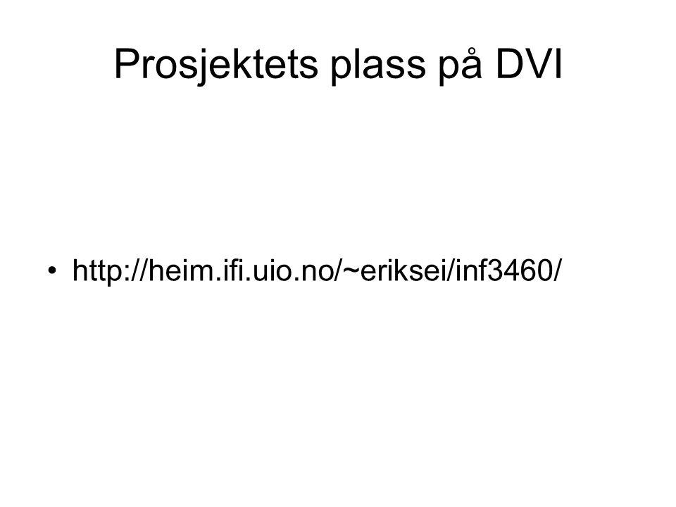Prosjektets plass på DVI http://heim.ifi.uio.no/~eriksei/inf3460/
