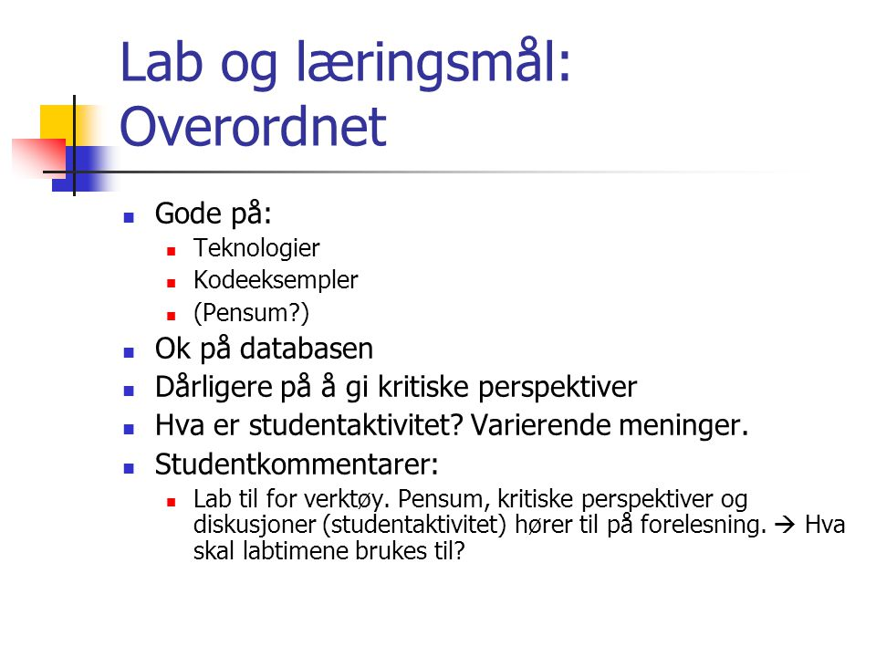 Lab og læringsmål: Overordnet Gode på: Teknologier Kodeeksempler (Pensum ) Ok på databasen Dårligere på å gi kritiske perspektiver Hva er studentaktivitet.