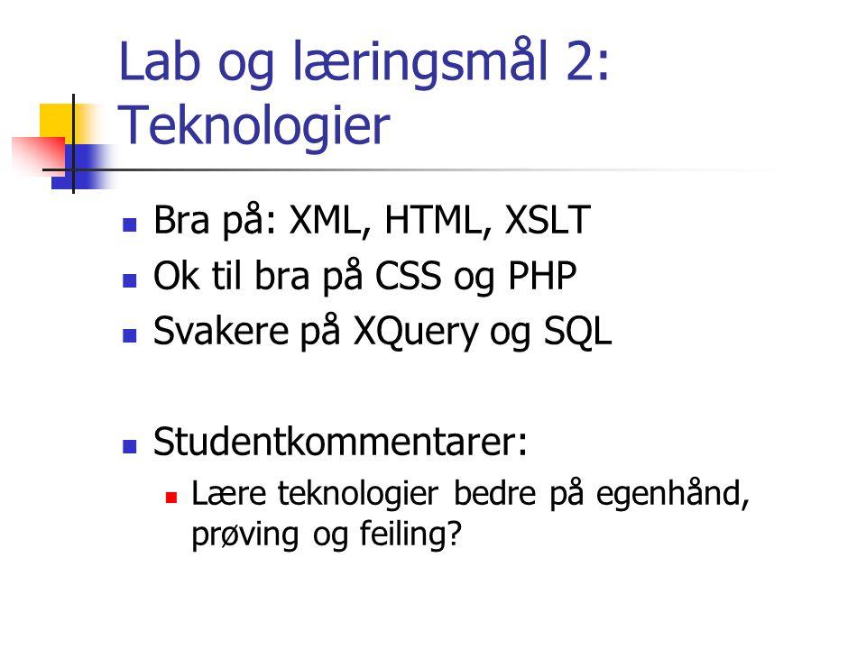 Lab og læringsmål 2: Teknologier Bra på: XML, HTML, XSLT Ok til bra på CSS og PHP Svakere på XQuery og SQL Studentkommentarer: Lære teknologier bedre på egenhånd, prøving og feiling