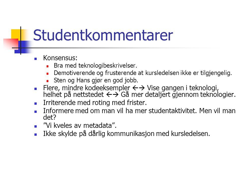 Studentkommentarer Konsensus: Bra med teknologibeskrivelser.