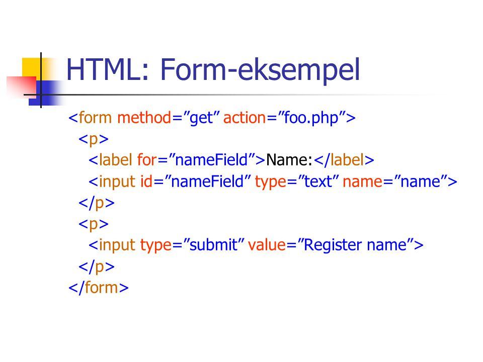 HTML: Form-eksempel Name: