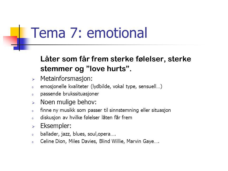 """Tema 7: emotional Låter som får frem sterke følelser, sterke stemmer og """"love hurts"""".  Metainforsmasjon: o emosjonelle kvaliteter (lydbilde, vokal ty"""