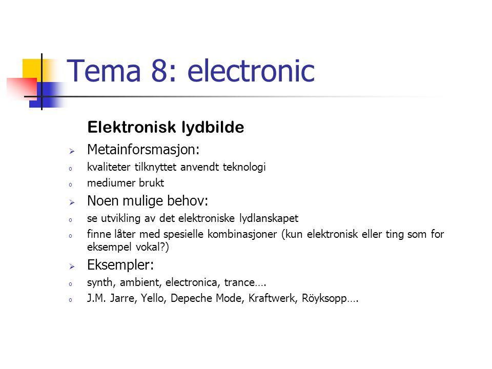 Tema 8: electronic Elektronisk lydbilde  Metainforsmasjon: o kvaliteter tilknyttet anvendt teknologi o mediumer brukt  Noen mulige behov: o se utvikling av det elektroniske lydlanskapet o finne låter med spesielle kombinasjoner (kun elektronisk eller ting som for eksempel vokal )  Eksempler: o synth, ambient, electronica, trance….