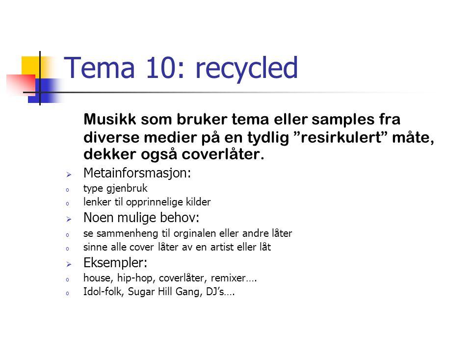 """Tema 10: recycled Musikk som bruker tema eller samples fra diverse medier på en tydlig """"resirkulert"""" måte, dekker også coverlåter.  Metainforsmasjon:"""