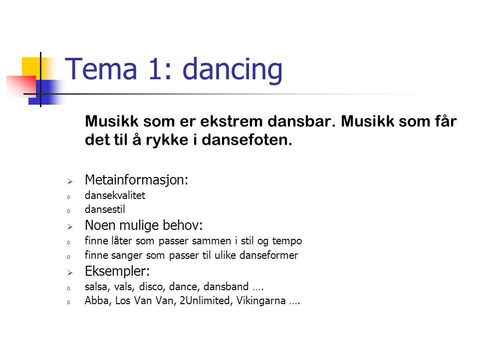 Tema 1: dancing Musikk som er ekstrem dansbar. Musikk som får det til å rykke i dansefoten.  Metainformasjon: o dansekvalitet o dansestil  Noen muli