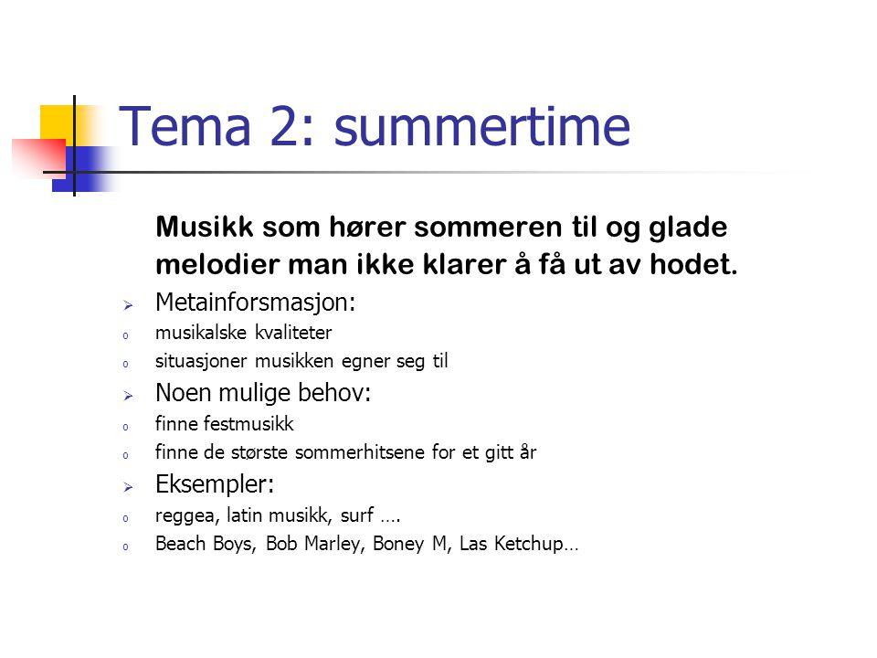 Tema 2: summertime Musikk som hører sommeren til og glade melodier man ikke klarer å få ut av hodet.  Metainforsmasjon: o musikalske kvaliteter o sit