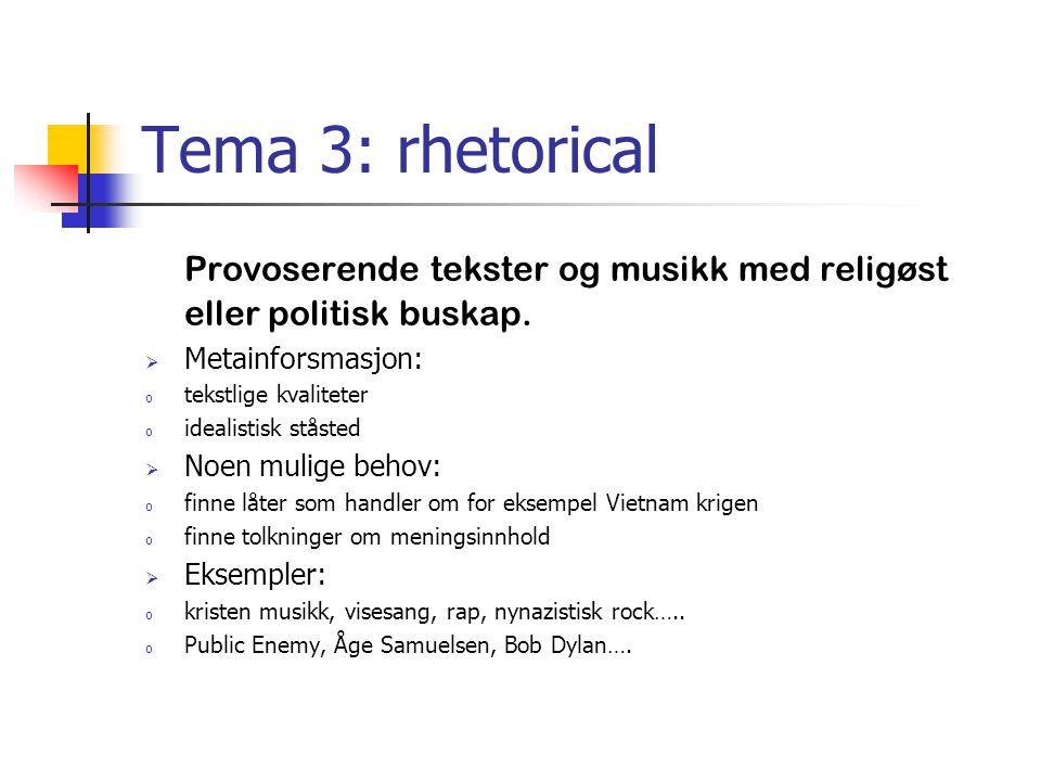 Tema 3: rhetorical Provoserende tekster og musikk med religøst eller politisk buskap.  Metainforsmasjon: o tekstlige kvaliteter o idealistisk ståsted