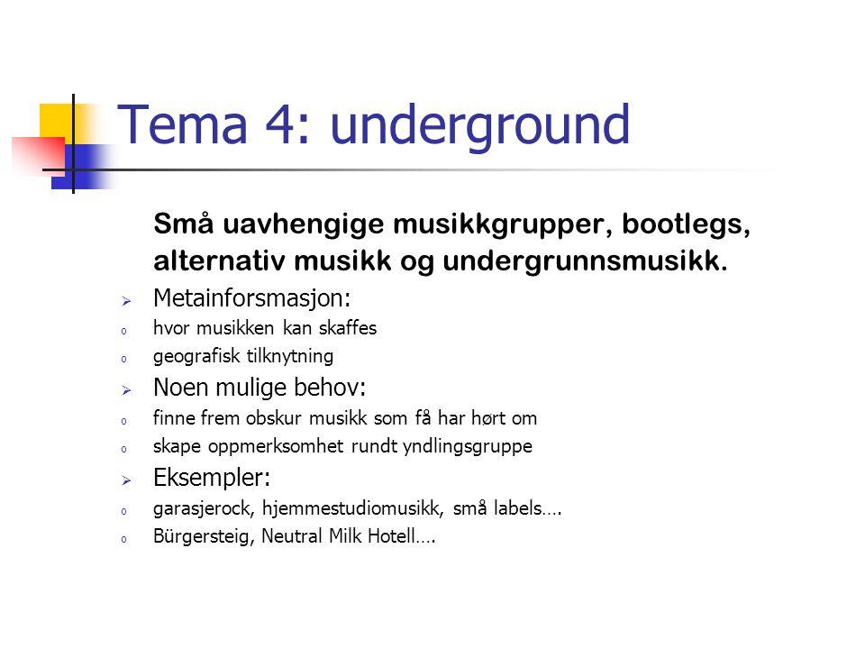 Tema 4: underground Små uavhengige musikkgrupper, bootlegs, alternativ musikk og undergrunnsmusikk.  Metainforsmasjon: o hvor musikken kan skaffes o