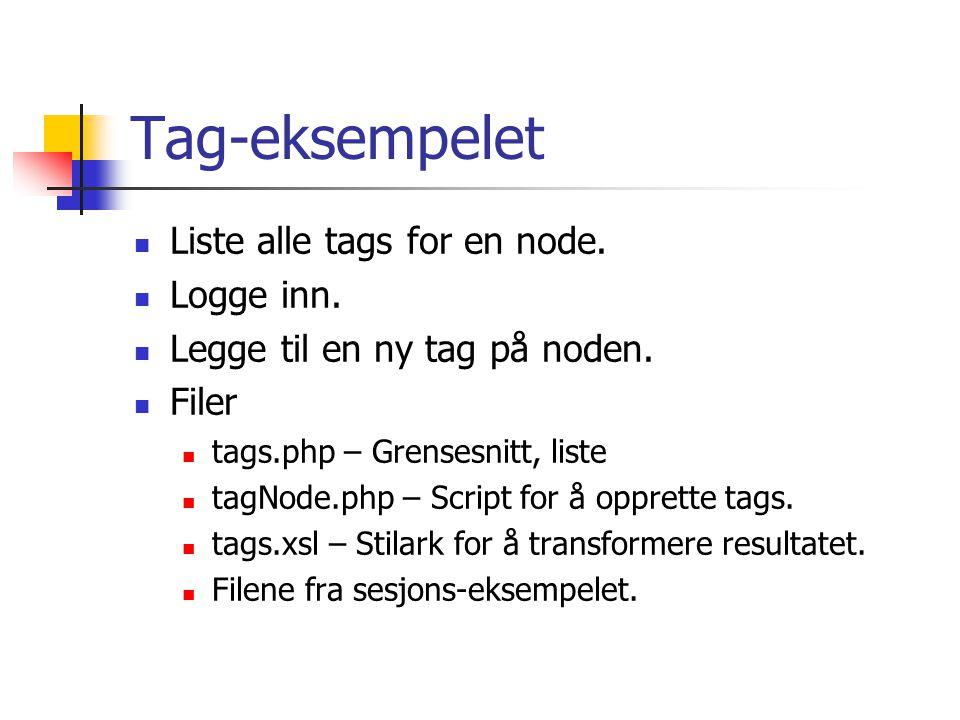 Tag-eksempelet Liste alle tags for en node. Logge inn. Legge til en ny tag på noden. Filer tags.php – Grensesnitt, liste tagNode.php – Script for å op