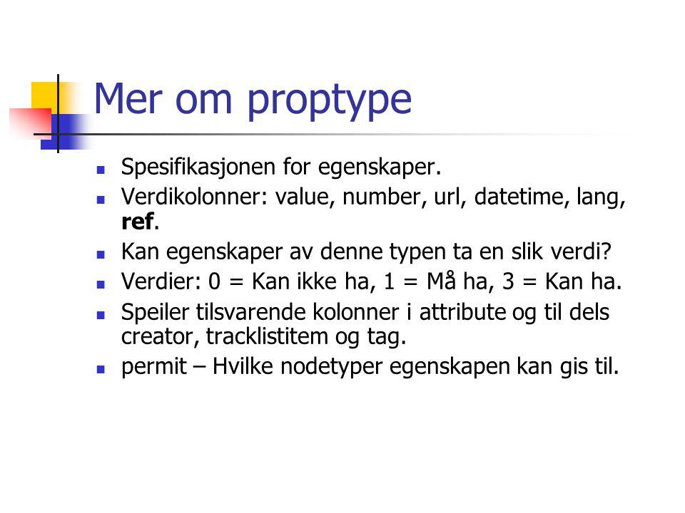 Mer om proptype Spesifikasjonen for egenskaper. Verdikolonner: value, number, url, datetime, lang, ref. Kan egenskaper av denne typen ta en slik verdi
