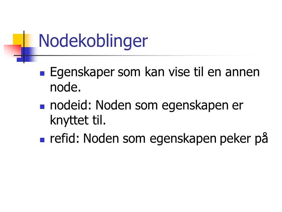 Nodekoblinger Egenskaper som kan vise til en annen node. nodeid: Noden som egenskapen er knyttet til. refid: Noden som egenskapen peker på