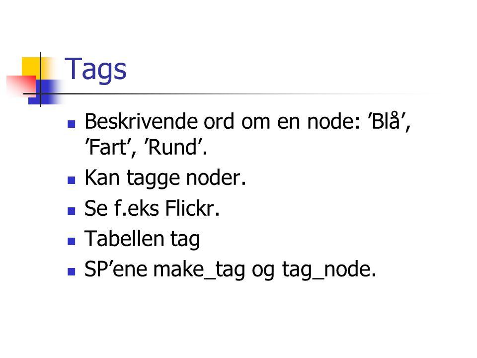 Tags Beskrivende ord om en node: 'Blå', 'Fart', 'Rund'. Kan tagge noder. Se f.eks Flickr. Tabellen tag SP'ene make_tag og tag_node.