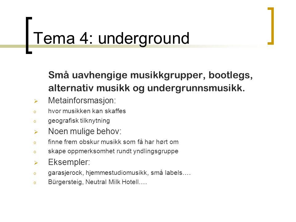 Tema 4: underground Små uavhengige musikkgrupper, bootlegs, alternativ musikk og undergrunnsmusikk.