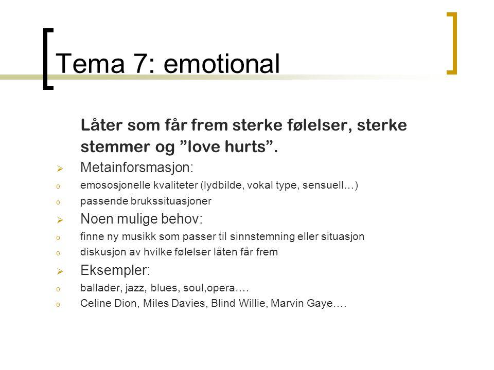 Tema 7: emotional Låter som får frem sterke følelser, sterke stemmer og love hurts .
