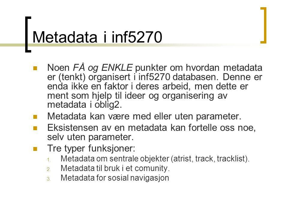 Metadata i inf5270 Noen FÅ og ENKLE punkter om hvordan metadata er (tenkt) organisert i inf5270 databasen. Denne er enda ikke en faktor i deres arbeid