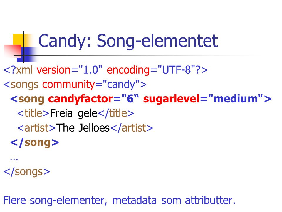 Candy: Song-elementet Freia gele The Jelloes … Flere song-elementer, metadata som attributter.
