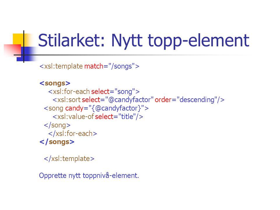 Stilarket: Nytt topp-element Opprette nytt toppnivå-element.