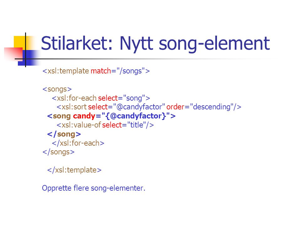 Stilarket: Nytt song-element Opprette flere song-elementer.
