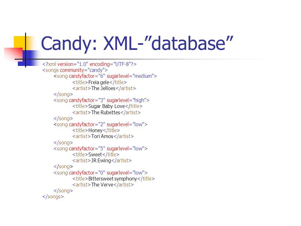 Candy: XML- database Freia gele The Jelloes …