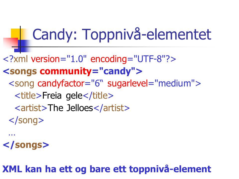 Candy: Song-elementet Freia gele The Jelloes … Flere song-elementer, metadata som attributter.