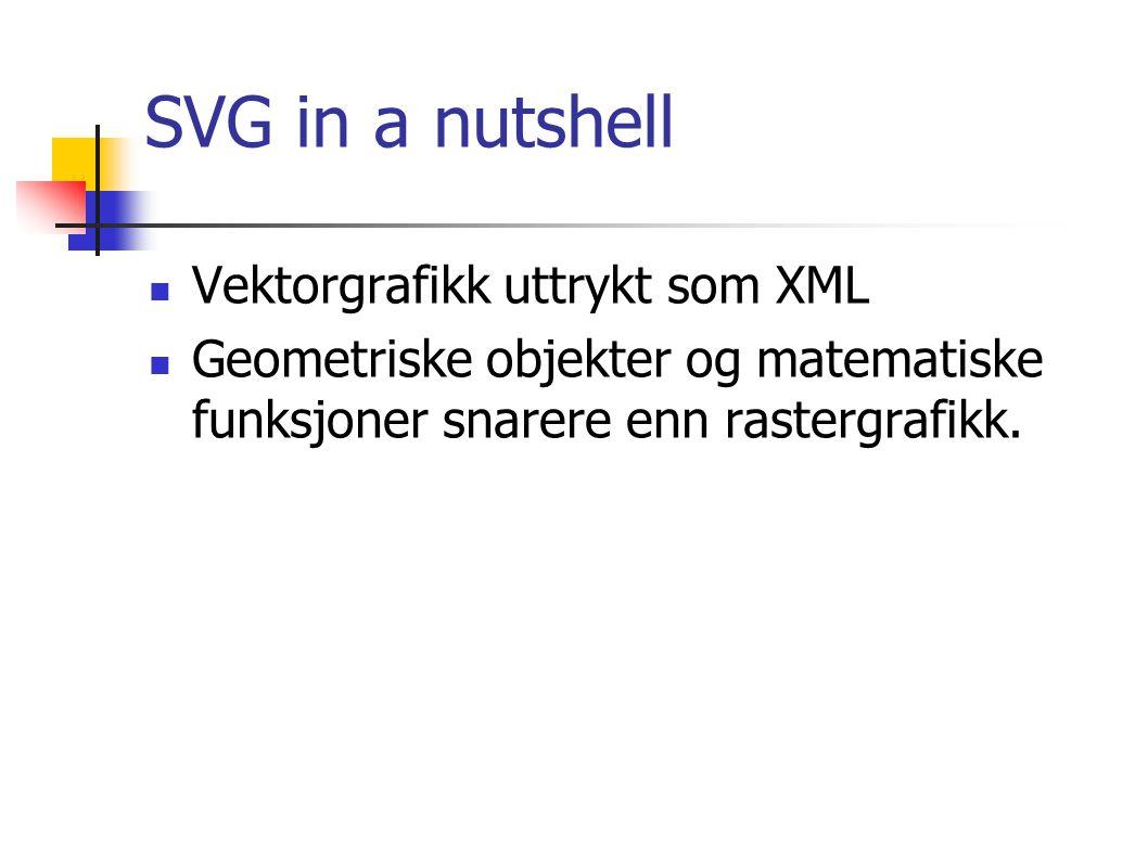 SVG in a nutshell Vektorgrafikk uttrykt som XML Geometriske objekter og matematiske funksjoner snarere enn rastergrafikk.