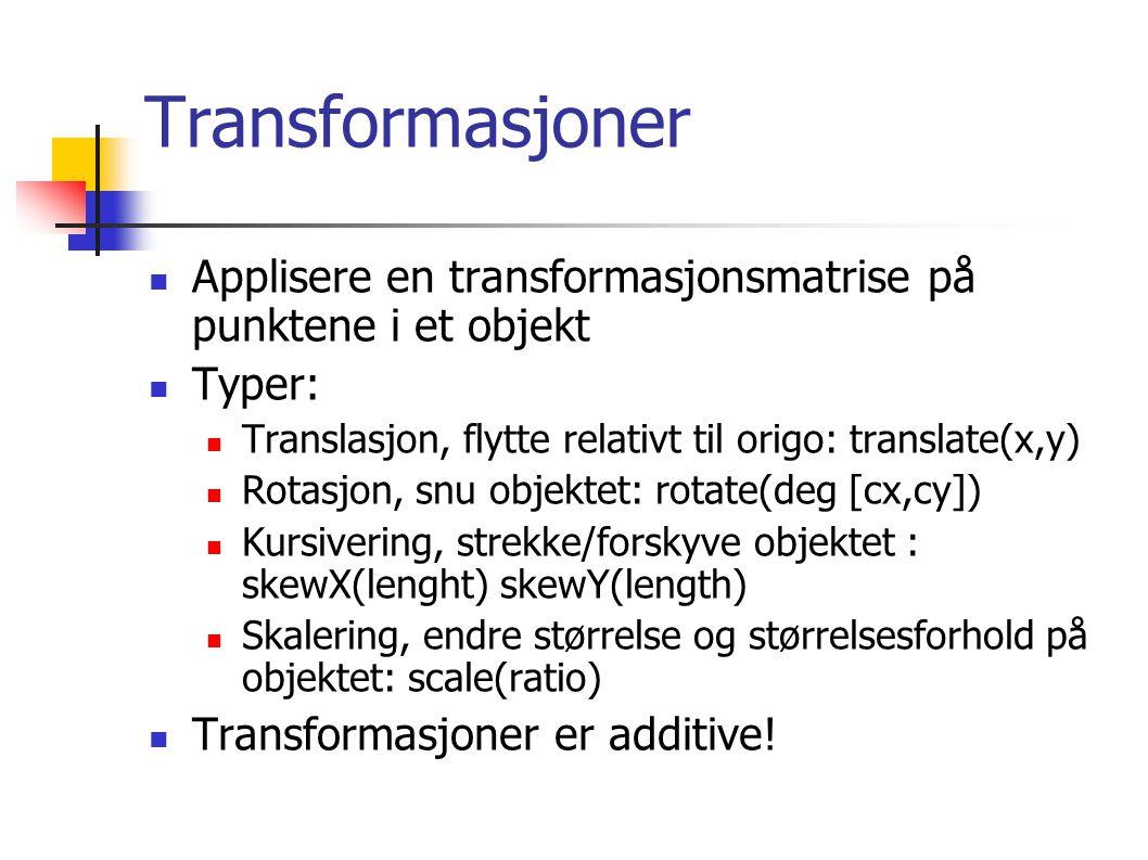 Transformasjoner Applisere en transformasjonsmatrise på punktene i et objekt Typer: Translasjon, flytte relativt til origo: translate(x,y) Rotasjon, snu objektet: rotate(deg [cx,cy]) Kursivering, strekke/forskyve objektet : skewX(lenght) skewY(length) Skalering, endre størrelse og størrelsesforhold på objektet: scale(ratio) Transformasjoner er additive!