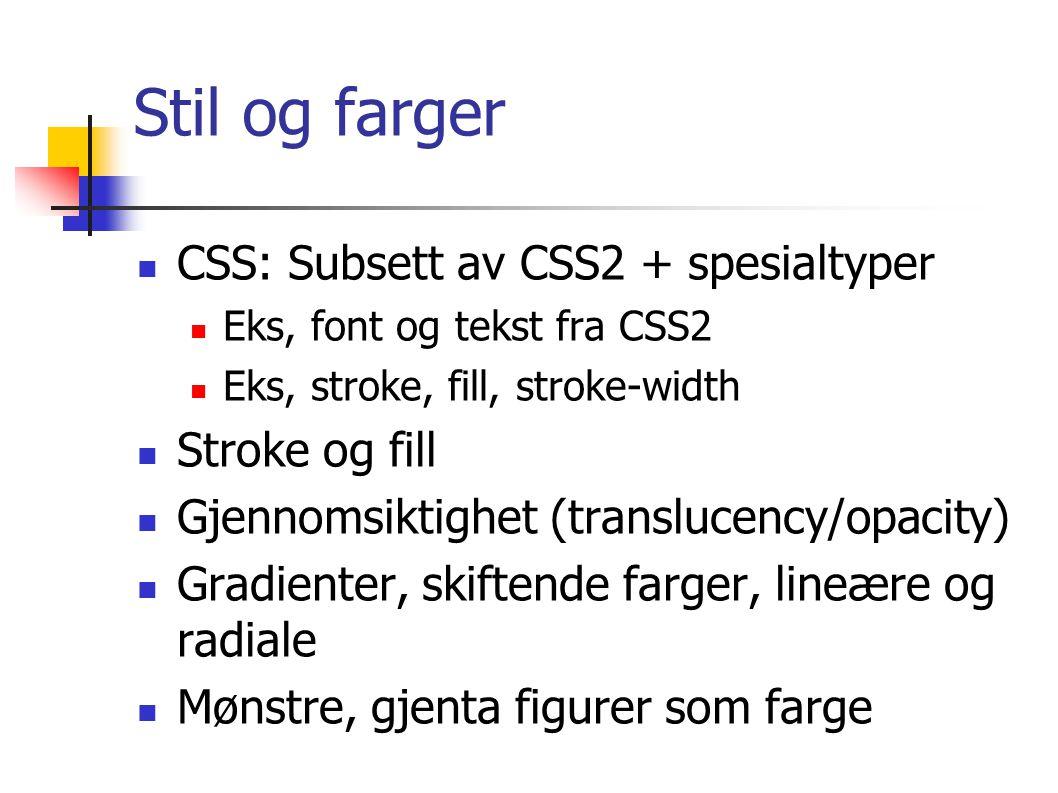 Stil og farger CSS: Subsett av CSS2 + spesialtyper Eks, font og tekst fra CSS2 Eks, stroke, fill, stroke-width Stroke og fill Gjennomsiktighet (translucency/opacity) Gradienter, skiftende farger, lineære og radiale Mønstre, gjenta figurer som farge