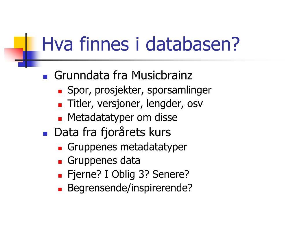 Hva finnes i databasen? Grunndata fra Musicbrainz Spor, prosjekter, sporsamlinger Titler, versjoner, lengder, osv Metadatatyper om disse Data fra fjor