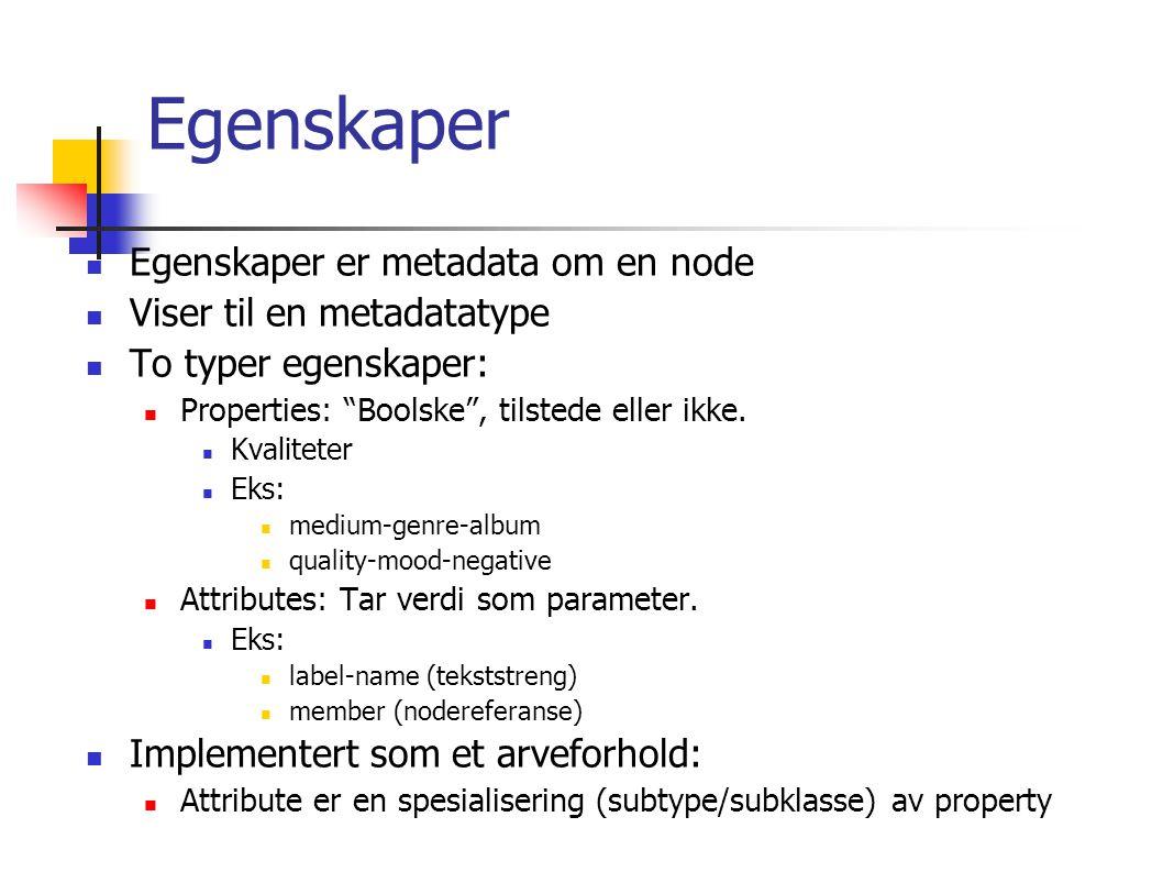 Egenskaper Egenskaper er metadata om en node Viser til en metadatatype To typer egenskaper: Properties: Boolske , tilstede eller ikke.