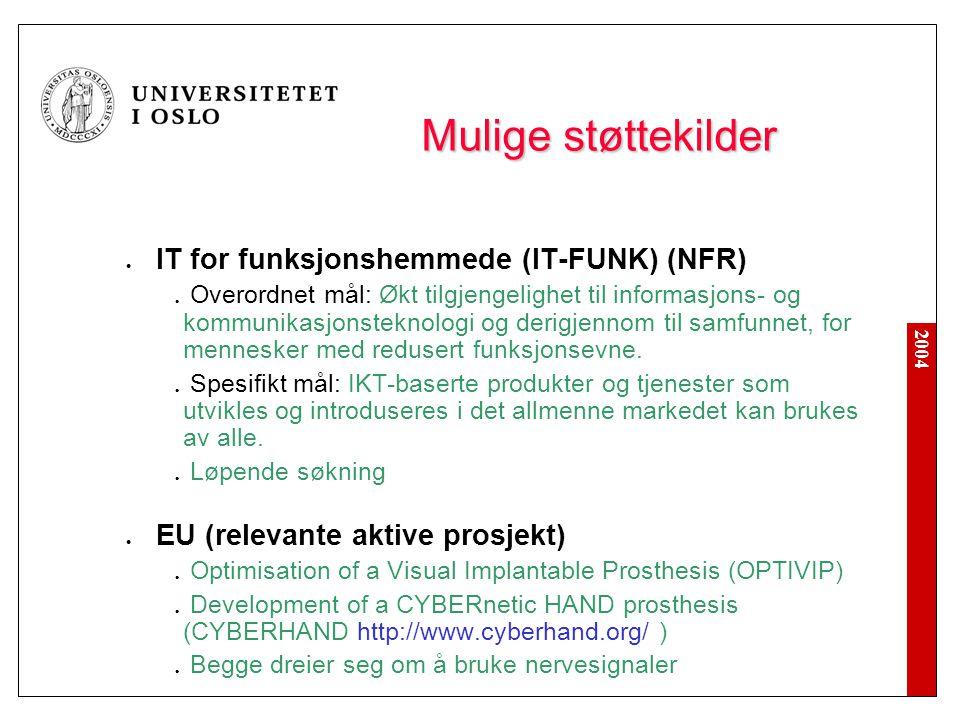 2004 Mulige støttekilder IT for funksjonshemmede (IT-FUNK) (NFR) Overordnet mål: Økt tilgjengelighet til informasjons- og kommunikasjonsteknologi og derigjennom til samfunnet, for mennesker med redusert funksjonsevne.