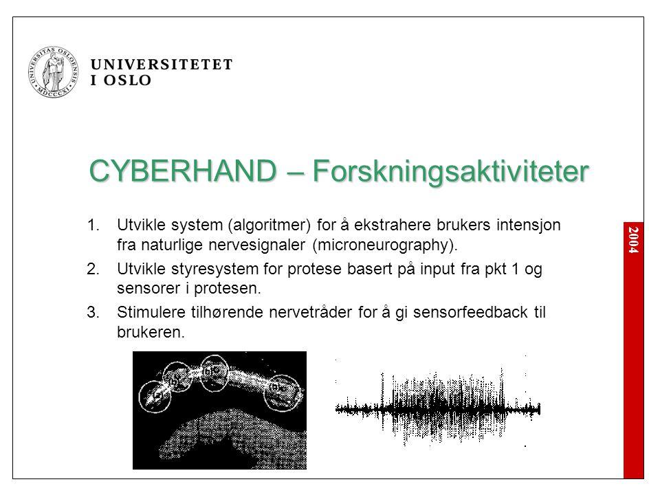 2004 CYBERHAND – Forskningsaktiviteter  Utvikle system (algoritmer) for å ekstrahere brukers intensjon fra naturlige nervesignaler (microneurography
