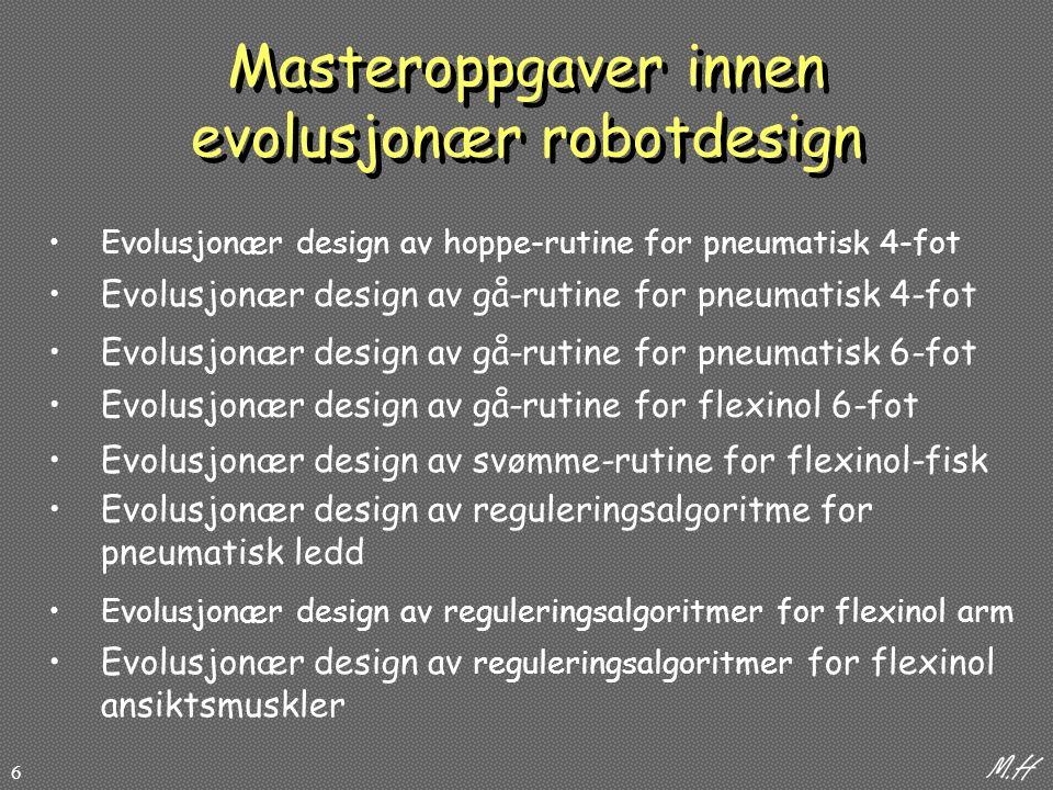 6 Masteroppgaver innen evolusjonær robotdesign Evolusjonær design av hoppe-rutine for pneumatisk 4-fot Evolusjonær design av gå-rutine for pneumatisk 4-fot Evolusjonær design av gå-rutine for pneumatisk 6-fot Evolusjonær design av gå-rutine for flexinol 6-fot Evolusjonær design av svømme-rutine for flexinol-fisk Evolusjonær design av reguleringsalgoritme for pneumatisk ledd Evolusjonær design av reguleringsalgoritmer for flexinol ansiktsmuskler Evolusjonær design av reguleringsalgoritmer for flexinol arm