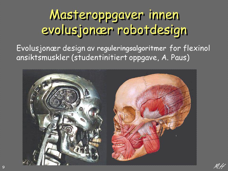 9 Masteroppgaver innen evolusjonær robotdesign Evolusjonær design av reguleringsalgoritmer for flexinol ansiktsmuskler (studentinitiert oppgave, A.
