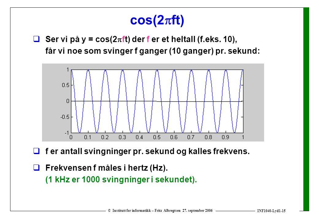 INF1040-Lyd1-15 © Institutt for informatikk – Fritz Albregtsen 27. september 2006 cos(2  ft)  Ser vi på y = cos(2  ft) der f er et heltall (f.eks.