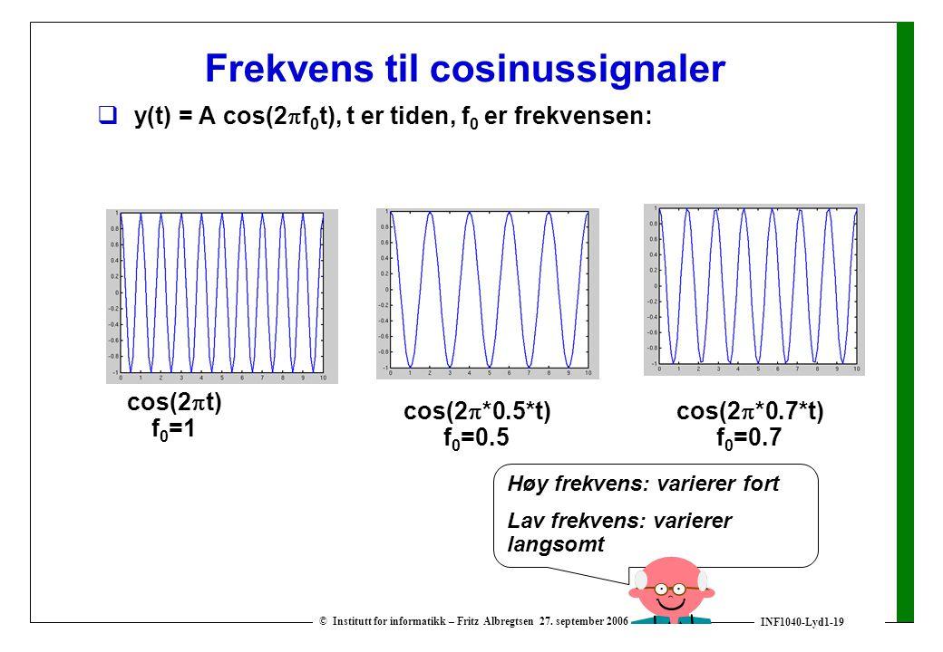 INF1040-Lyd1-19 © Institutt for informatikk – Fritz Albregtsen 27. september 2006 Frekvens til cosinussignaler  y(t) = A cos(2  f 0 t), t er tiden,
