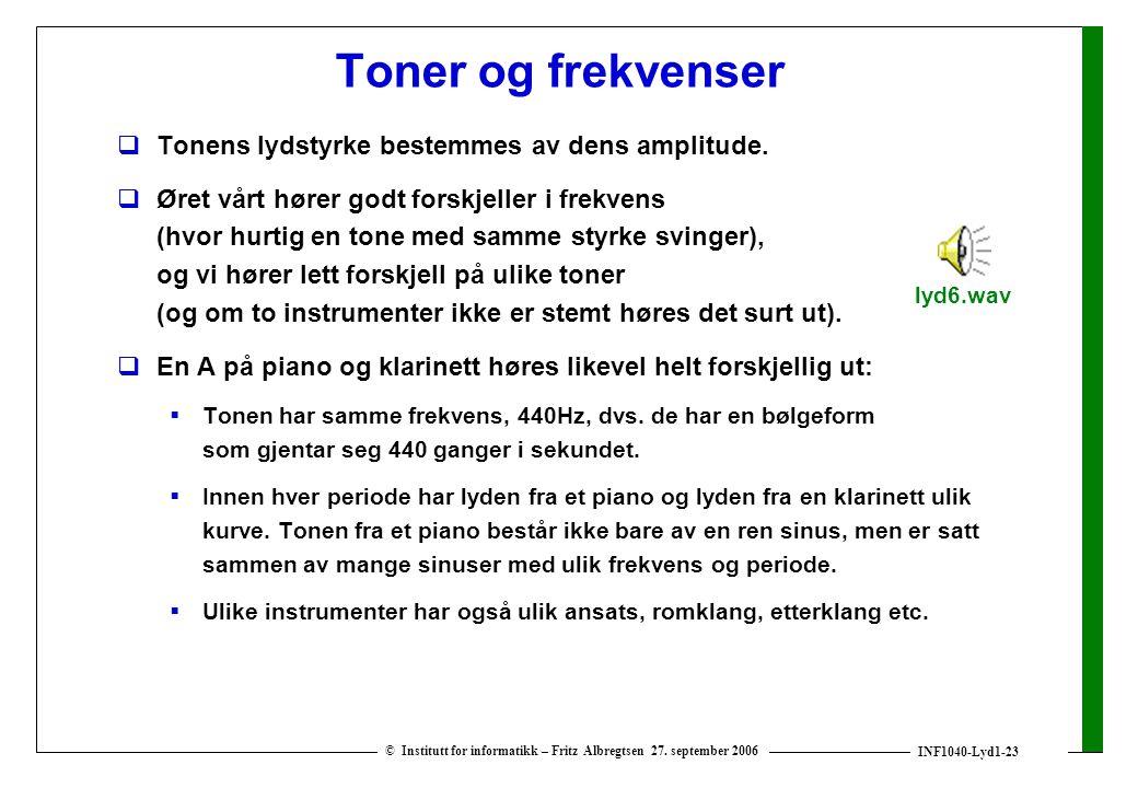 INF1040-Lyd1-23 © Institutt for informatikk – Fritz Albregtsen 27. september 2006 Toner og frekvenser  Tonens lydstyrke bestemmes av dens amplitude.