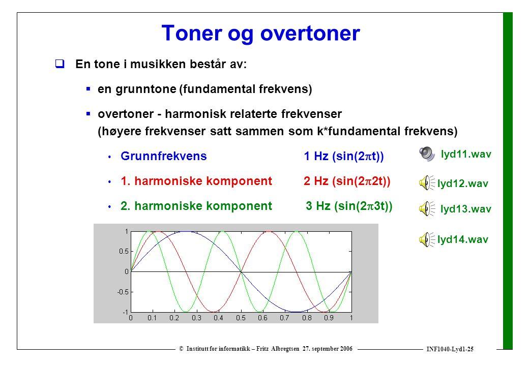 INF1040-Lyd1-25 © Institutt for informatikk – Fritz Albregtsen 27. september 2006 Toner og overtoner  En tone i musikken består av:  en grunntone (f