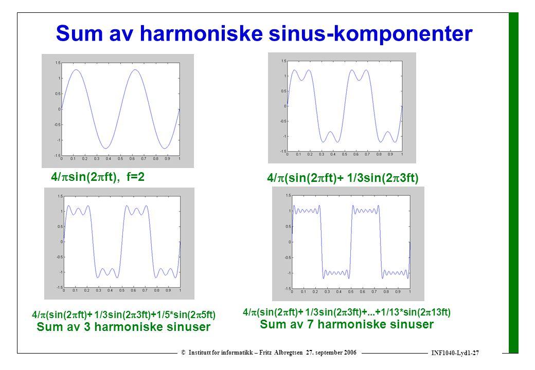 INF1040-Lyd1-27 © Institutt for informatikk – Fritz Albregtsen 27. september 2006 Sum av harmoniske sinus-komponenter 4/  sin(2  ft), f=2 4/  (sin(