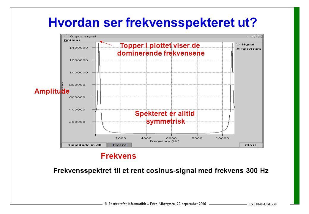 INF1040-Lyd1-30 © Institutt for informatikk – Fritz Albregtsen 27. september 2006 Hvordan ser frekvensspekteret ut? Frekvensspektret til et rent cosin