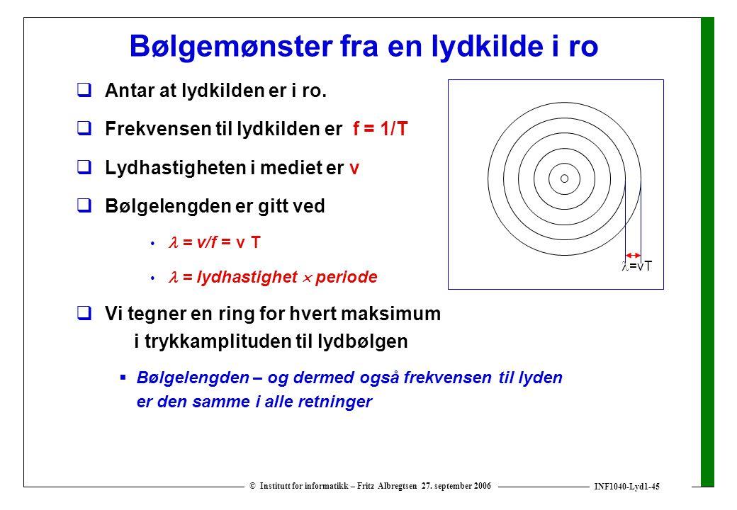 INF1040-Lyd1-45 © Institutt for informatikk – Fritz Albregtsen 27. september 2006 Bølgemønster fra en lydkilde i ro  Antar at lydkilden er i ro.  Fr