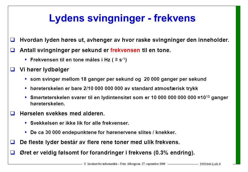 INF1040-Lyd1-9 © Institutt for informatikk – Fritz Albregtsen 27. september 2006 Lydens svingninger - frekvens  Hvordan lyden høres ut, avhenger av h