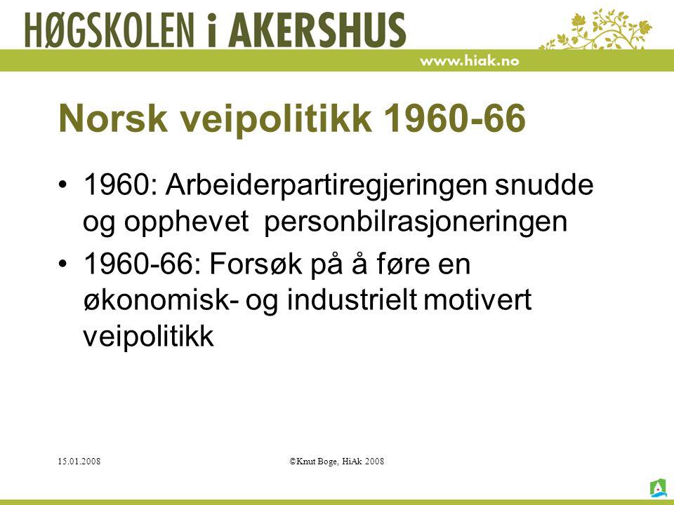 15.01.2008©Knut Boge, HiAk 2008 Norsk veipolitikk 1960-66 1960: Arbeiderpartiregjeringen snudde og opphevet personbilrasjoneringen 1960-66: Forsøk på