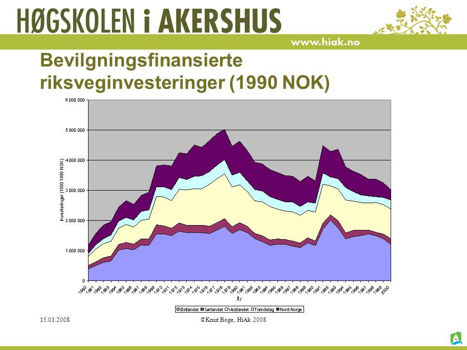15.01.2008©Knut Boge, HiAk 2008 Bevilgningsfinansierte riksveginvesteringer (1990 NOK)