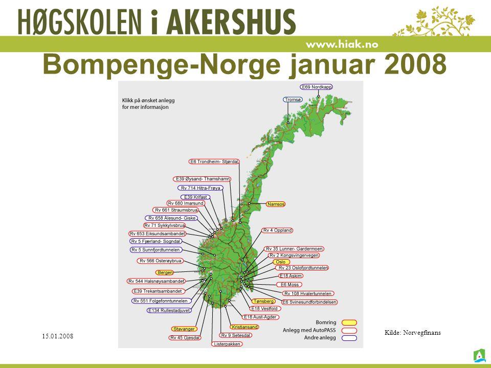 15.01.2008©Knut Boge, HiAk 2008 Bompenge-Norge januar 2008 Kilde: Norvegfinans