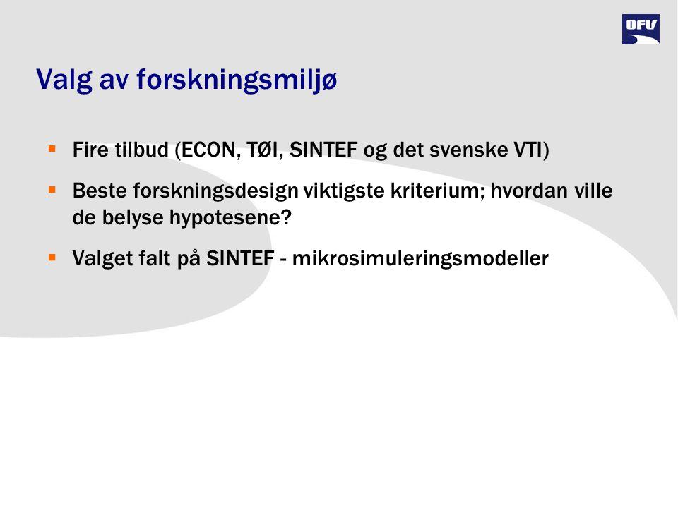 Valg av forskningsmiljø  Fire tilbud (ECON, TØI, SINTEF og det svenske VTI)  Beste forskningsdesign viktigste kriterium; hvordan ville de belyse hyp