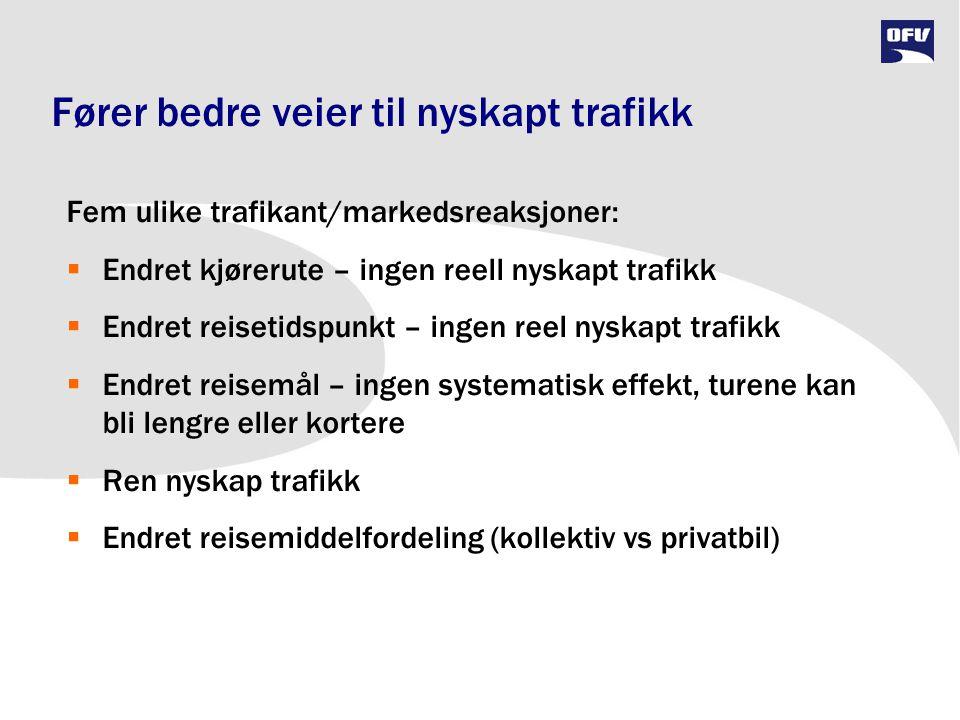 Fører bedre veier til nyskapt trafikk Fem ulike trafikant/markedsreaksjoner:  Endret kjørerute – ingen reell nyskapt trafikk  Endret reisetidspunkt